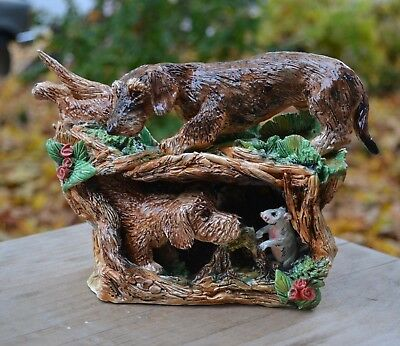 Dachshund .Wirehaired. Hunting .Handsculpted ceramic scene.. OOAK .LOOK!