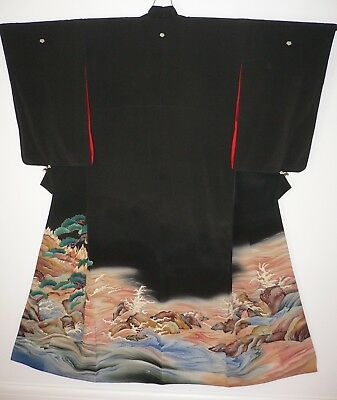 1920s EXCEPTIONAL JAPANESE VINTAGE SILK HAND PAINTED PICTORIAL TOMESODE KIMONO