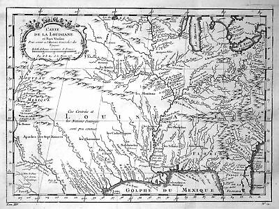 1750 Louisiana Florida Carolina Michigan map Kupferstich antique print Bellin