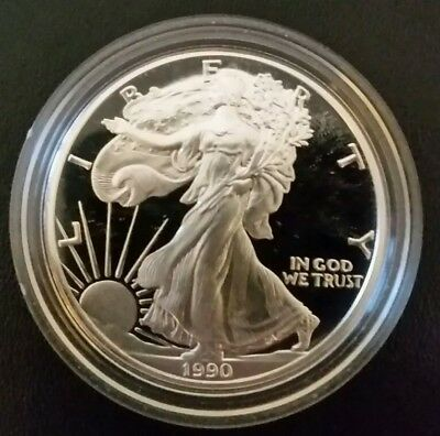 *** 1990-S Silver American Eagle Proof *** Flawless Mint 1 oz .999 Fine Coin ***