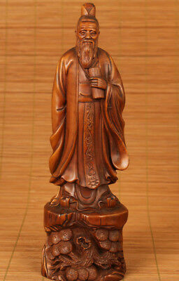 antique Old chinese Boxwood Hand Carved confucianist kongzi Statue netsuke
