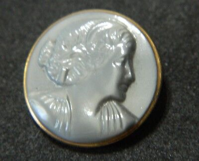 Vintage SATIN Glass Button w Raised LADY Head w Gold