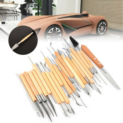 22pcs Set Pottery Clay Wax Sculpting Polymer Modeling Carving Tools Craft Kit