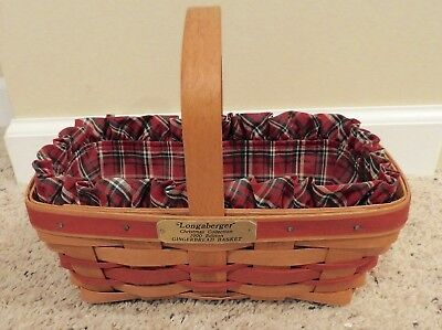 Longaberger 1990 Gingerbread Basket With Liner