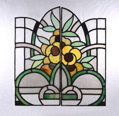 *Vintage Pair of French Stained/Leaded Glass Panels with Art Deco Flowers