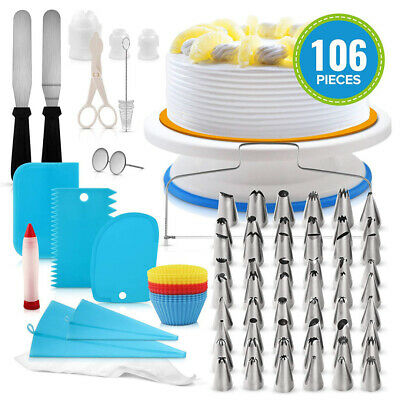 106pcs Cake Decorating Supplies Pieces Kit Baking Tools Turntable Stand Pen Set