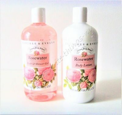 Crabtree & Evelyn Rosewater Body Lotion and Bath & Shower Gel Value Size