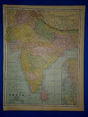 Vintage 1889 BRITISH INDIA HINDOOSTAN MAP Old Antique Original Atlas Map 111318
