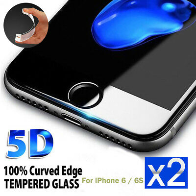 2Pcs 5D Curved Cover Tempered Glass Screen Protector for iPhone 6s iPhone 6