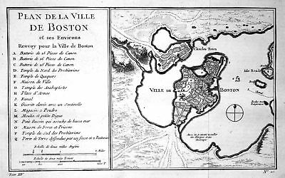 1750 Boston Massachusetts Charles River map Kupferstich antique print Bellin