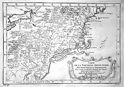 1750 New York Rhode Island New Hampshire Jersey Maine map engraving Belli 155036