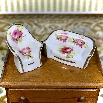 Limoges/France MATCHING SOFA and CHAIR Vintage Miniature Dollhouse Collectible