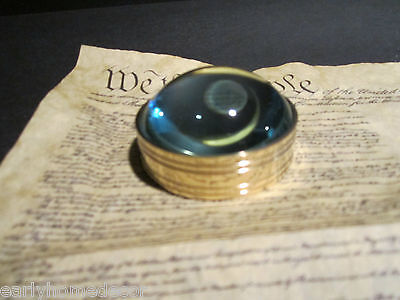 Vintage Antique Style Solid Brass Heavy Glass Magnifying Desktop Lens