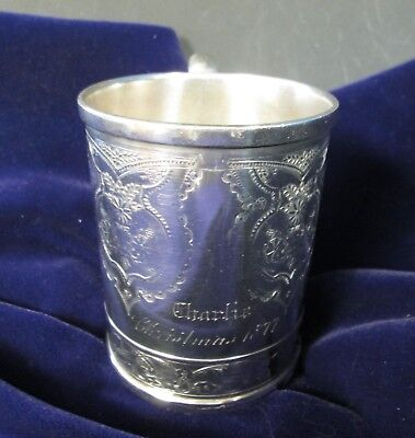 Antique Victorian Silverplate Child's Cup Christmas 1877 Excellent Condition