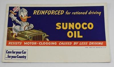 Vintage Ink Blotter Advertising Sunoco Oil with Donald Duck