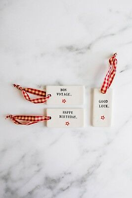 Set of 3 Gift Tags: GOOD LUCK, BON VOYAGE, HAPPY BIRTHDAY by Rae Dunn
