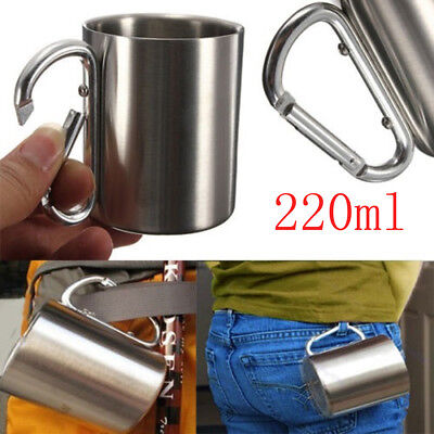 Stainless Steel Cup Mug Drinking Coffee Beer Hook Camping Travel Picnic Tools