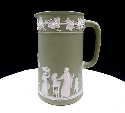 "German Porcelain Green Jasperware White Relief 6 3/8"" Jug / Pitcher"