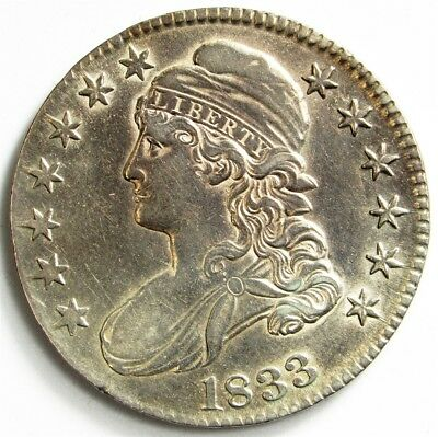 1833 Capped Bust Half Dollar - About UNC (Detail) - 50c Silver - Toned