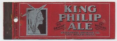 Rare King Philip Ale Feature Beer Matchbook Enterprise Brewing Co Fall River Ma