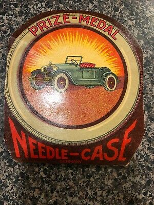 Rare Prize Medal Needle Case Automobile & Vintage Sewing Needles Lot
