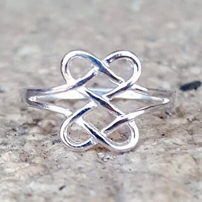 .925 Sterling Silver Ring Heart Ladies Midi Celtic Infinity size 3-12 Thumb New