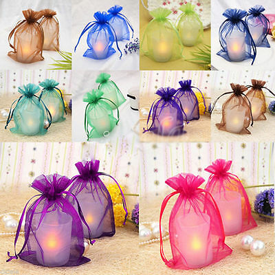 100Pcs Organza Drawstring Bags Jewelry Candy Pouch Packing Wedding Favour Supply