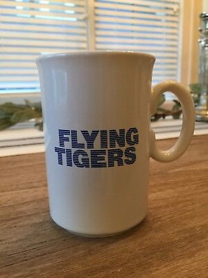 Flying Tigers Air Cargo Ceramic Coffee Mug - Vintage Airlines 1980s