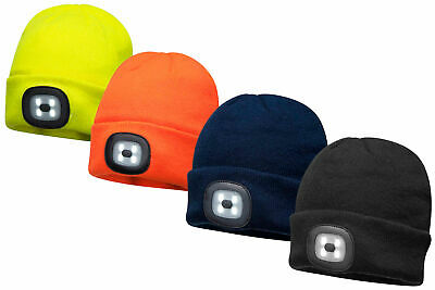 Portwest - Unisex Beanie Hat With LED Head Light Torch Rechargeable Via USB