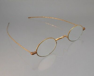 Antique 19th Century Gold Tone Oval Lens Wire Rim Glasses Spectacle Eyeglasses