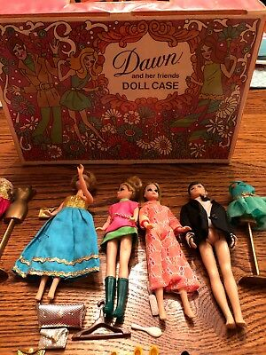 Vintage 1971 Topper Toys Dawn & Her Friends Doll Case Dawn & Gary + Clothes Lot