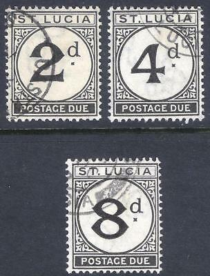 St Lucia 1933 2d-8d Post Due Wmk Script SG D4-D6 Scott J4-J6 VFU Cat £120($156)