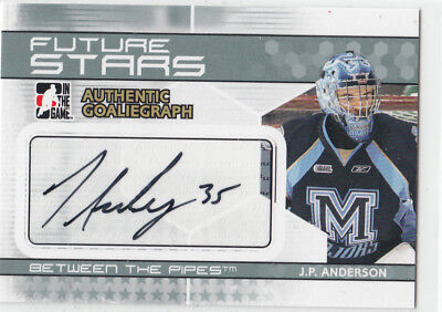 09/10 Itg Between The Pipes J.p. Anderson Future Stars Autograph Auto