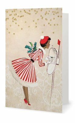 Candy Stripe African American Lady Red Christmas Holiday Cards (Pack of 5)