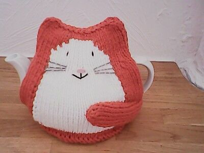 Hand Knitted Ginger Cat Tea Cosy/cozy/cosies/cozies