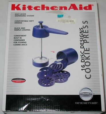 KitchenAid Cookie Press Blue 16 Discs Compact Storage Professional Series New
