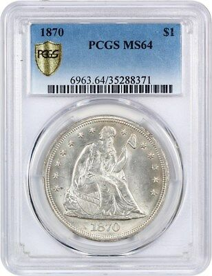 1870 $1 PCGS MS64 - Flashy White Example - Liberty Seated Dollar