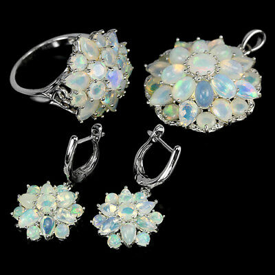 Natural Aaa Rainbow Opal & White Cz Sterling 925 Silver Flower Set Size 8.25