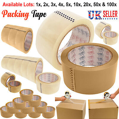 LONG LENGTH PACKING TAPE STRONG - BROWN / CLEAR ROLLS 48mm x 66M PARCEL TAPE UK