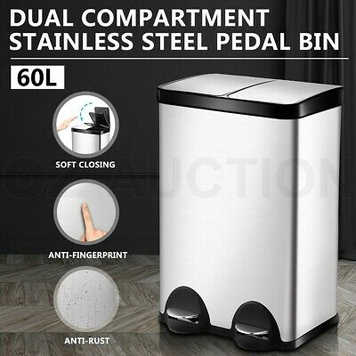 60L Dual Pedal Garbage Rubbish Bin Stainless Steel Kitchen Waste Trash Can