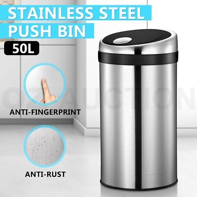 50L Stainless Steel Rubbish Bin Touch Push Top Waste Garbage Trash Can Kitchen