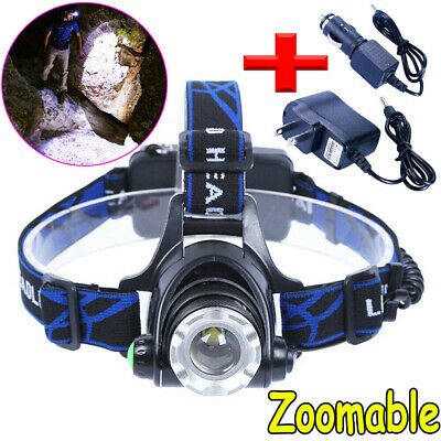 Zoom 15000LM Headlight Torch T6 LED Headlamp Head Light Lamp + Charger + 18650 *