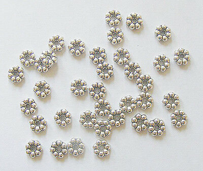 50 Metal Antique Silver Colour  Flower Spacer Beads- 6mm