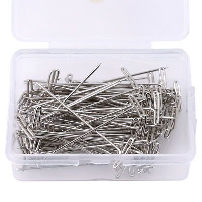 50/100Pcs Metal 32/45/50/27/38mm Silver T Pins For Knitting Wigs Sewing Craft OE