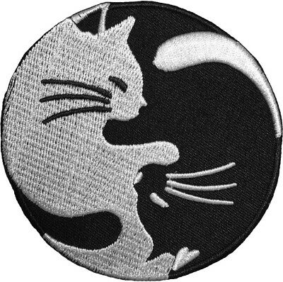 CAT YIN YANG Kung Fu Chinese Tao Balance Sign Cute Embroidered Sew Iron on Patch