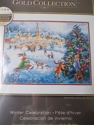 "Cross stitch Kit Gold Collection "" Winter Celebrations ""New by Dimensions"