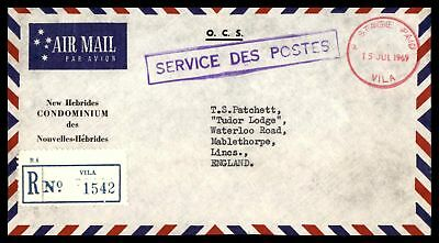 Vila New Hebrides Official Stampless Airmail 1969 Card Registered to England