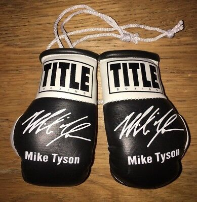 Mike Tyson Autographed Mini Boxing Gloves Signed memorabilia Gift Tribute Legend