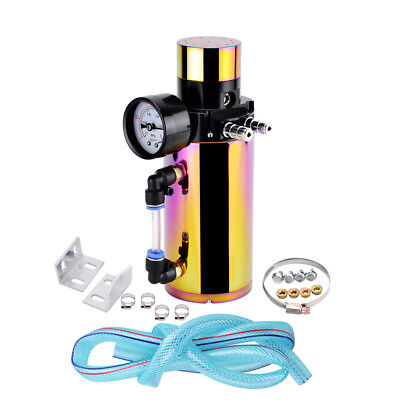 Oil Reservoir Catch Can Tank Kit Breather Filter Vacuum Pressure Gauge Colorful