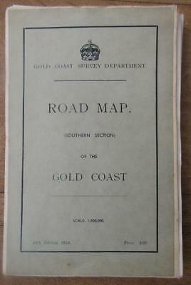 1954 Gold Coast Africa Road Map Large Vintage Cloth Map